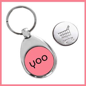 Porte-clé jeton caddie personnalisé avec logo